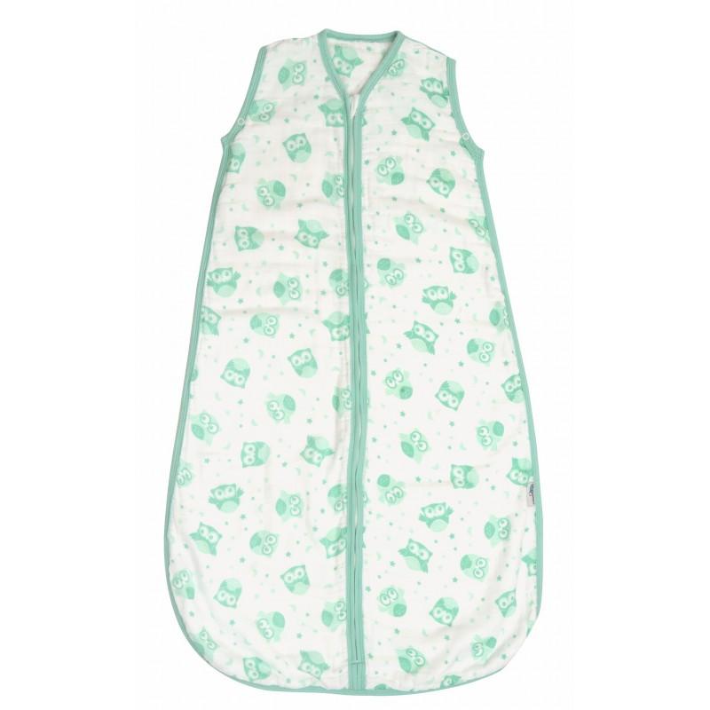 Sac de dormit pentru vara din muselina Mint Owl 0-6 luni 0.5 Tog :: Slumbersac